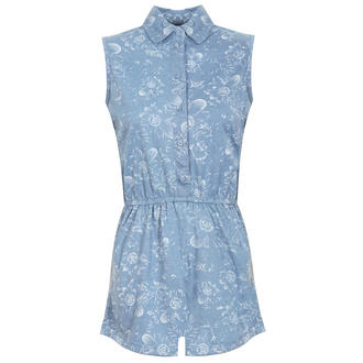 View Item Blue Floral Sleeveless Playsuit